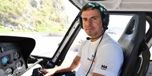 Hartiz Galarraga, piloto de helicóptero en los trabajos de la Isla de Santa Clara
