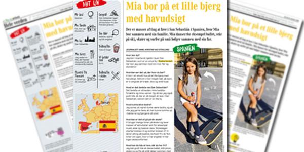 Mía Sancho entrevistada en la revista danesa Børneavisen